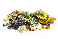 Beautiful jewelry on white. Background royalty free stock images