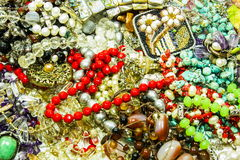 Beautiful jewelry on white. Background stock photo