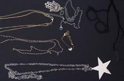 Beautiful jewelry, women`s jewelry on a black background.  stock image