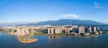 Beautiful jiujiang city landscape at dusk Royalty Free Stock Photography