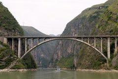 Beautiful Jiujiang Yangtze River Bridge At Dusk Stock Photos