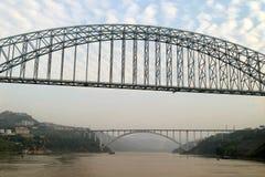 Beautiful Jiujiang Yangtze River Bridge At Dusk Stock Photo