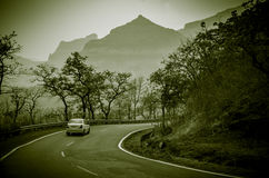Beautiful Journey... A journey through picturesque malshej ghat of Sahyadri Hills in Western Ghats of India Stock Photos