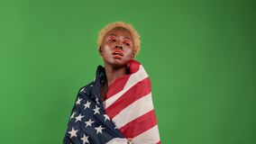 Beautiful Joyful Black African Sexy Young Women.Cheerful Girls Dancing With The Flag Of America In Their Hands In Honor Stock Images