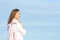 Beautiful joyful mature woman background Stock Images