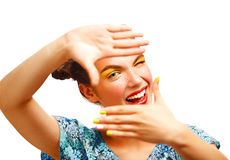 Free Beautiful Joyful Teen Girl With Freckles And Yellow Makeup Royalty Free Stock Photography - 45243407