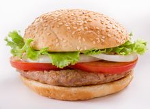 Beautiful and juicy burger close-up. Food is a series of fast-food. Royalty Free Stock Photos