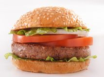 Beautiful and juicy burger close-up. Food is a series of fast-food. Royalty Free Stock Photography