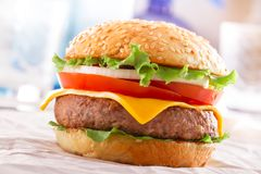 Beautiful and juicy burger close-up. Food is a series of fast-food. Royalty Free Stock Photo