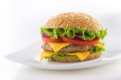 Beautiful and juicy burger close-up. Food is a series of fast-food. Stock Photos