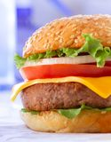 Beautiful and juicy burger close-up. Food is a series of fast-food. Royalty Free Stock Images