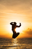Beautiful jump on sunset Royalty Free Stock Photography