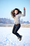 Beautiful Jumping Girl Royalty Free Stock Photos