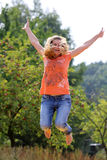 Beautiful Jumping Girl Stock Photo