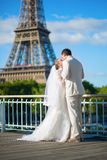 Beautiful just married couple in Paris Stock Image