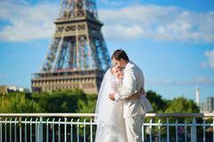 Beautiful just married couple in Paris Stock Images