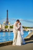 Beautiful just married couple in Paris Royalty Free Stock Image