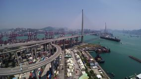 Beautiful 4K Aerial Shot of Hong Kong Container Port Area. stock video