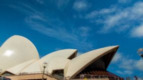 Beautiful 4k time lapse panorama on popular tourist destination Sydney Opera House Australia on bright sunny summer day stock video