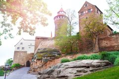 Beautiful Kaiserburg view of inner yard, Nuremberg Stock Photo