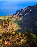 Beautiful Kalalau Valley. Early morning view of the Kalalau Valley at the Na Pali Coast, Kauai Stock Photography