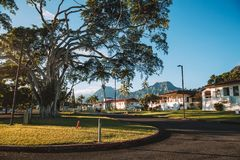 Beautiful Kaneohe district park during sunny day. Near Honolulu near the Haiku stairs to heaven trails Stock Photo
