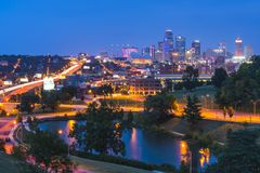 Beautiful kansas city skyline at night stock photo