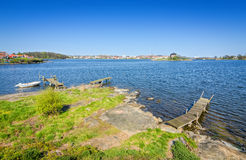 Beautiful Karlskrona sea shore in May month Stock Image