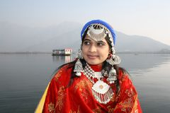 Beautiful Kashmiri Girl with Dal Lake Background Stock Photos