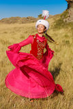 Beautiful kazakh woman and man in national costume royalty free stock photography