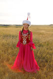 Beautiful kazakh woman and man in national costume Stock Photography