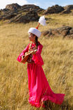 Beautiful kazakh woman and man in national costume Royalty Free Stock Images