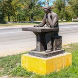 Beautiful Kazakhstan. Detail view on Monument of a lonely sitting Chess Player. The Person Thinking about next playing steps. royalty free stock images