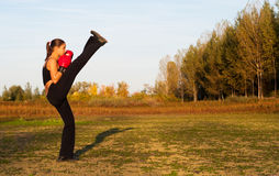 Beautiful kick boxing girl exercising high kick. In the nature on sunny summer day Royalty Free Stock Photography