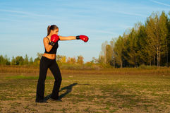 Beautiful kick boxing girl exercising in the nature. On sunny summer day Stock Photography