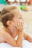 Beautiful kid on the beach Royalty Free Stock Photo