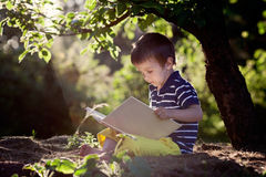 Beautiful kid boy, reading a book in garden, sitting next to a t Royalty Free Stock Image