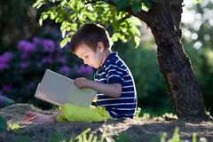 Beautiful kid boy, reading a book in garden, sitting next to a t Royalty Free Stock Photos