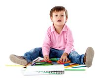 Beautiful kid with colors Stock Photo