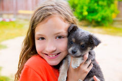 Beautiful kid girl portrait with puppy chihuahua doggy Stock Photography
