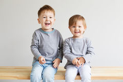 Beautiful kids against a white background Royalty Free Stock Image
