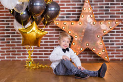 Free Beautiful Kids, Little Boys Celebrating Birthday And Blowing Candles On Homemade Baked Cake, Indoor. Birthday Party For Royalty Free Stock Photo - 92236475