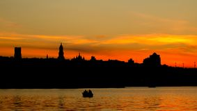 Beautiful Kiev skyline at sunset, Ukraine Royalty Free Stock Photo