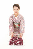 Beautiful kimono woman sit Stock Photo