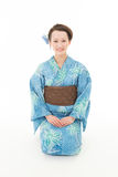 Beautiful kimono woman sitting Stock Photos