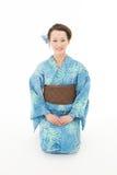 Beautiful kimono woman sitting Stock Photos