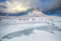 the beautiful Kirkjufell mountain, Snaefellsness peninsula, Iceland royalty free stock photography