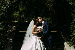 Beautiful kiss of the couple in love in the park Royalty Free Stock Photography