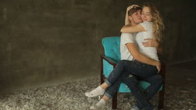 Beautiful kissing  couple in love, studio shot stock video footage