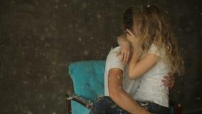 Beautiful kissing  couple in love, studio shot stock video